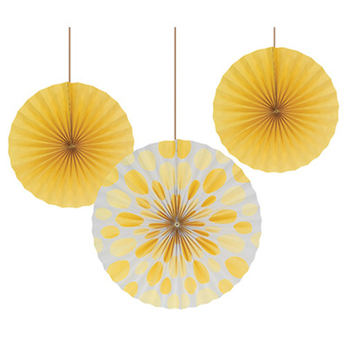 "Yellow 12"" & 16"" Solid Polka Dot Paper Fans"