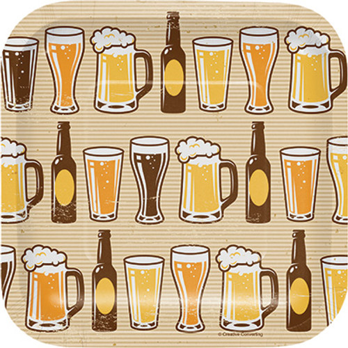 "Cheers & Beers 7"" Square Lunch Plates"