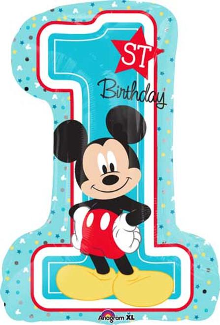 """28"""" Mickey 1st Birthday Super Shape Balloon"""