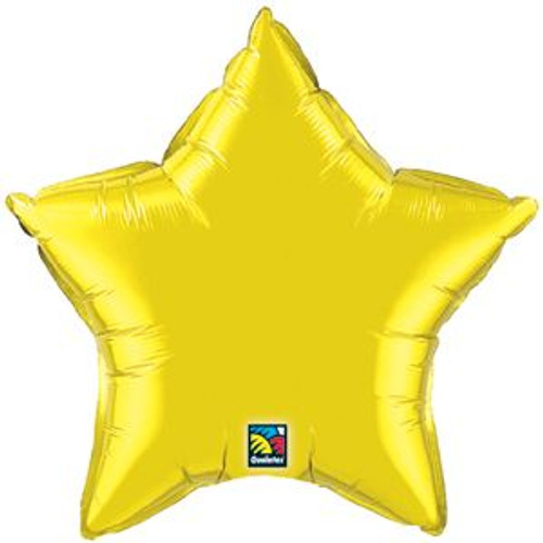 "20"" Metallic Citrine Yellow Star Foil Balloon"