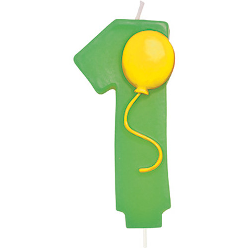 Number 1 Green Birthday Candle with Balloon