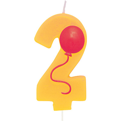 Number 2 Yellow Birthday Candle with Balloon