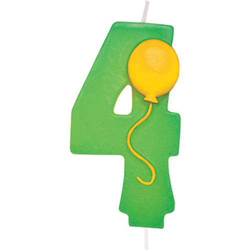 Number 4 Green Birthday Candle With Balloon