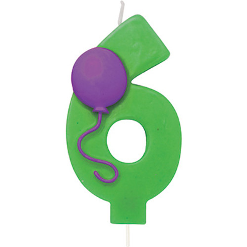 Number 6 Green Birthday Candle with Balloon