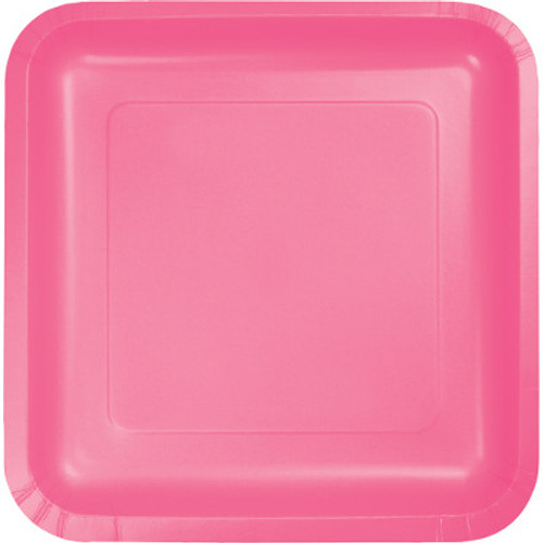 "Candy Pink 7"" Square Lunch Plates"