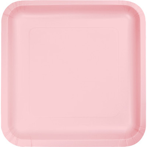 """Pink 7"""" Square Lunch Plates"""