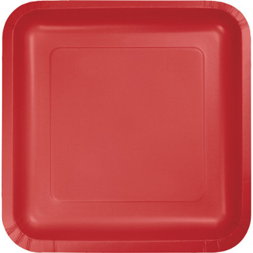 "Red 7"" Square Lunch Plates"