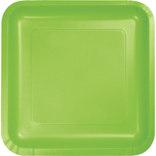 "Lime Green 7"" Square Lunch Plates"