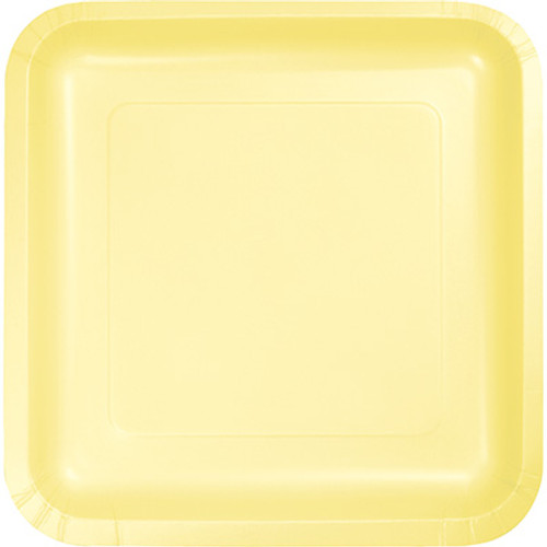 "Light Yellow 7"" Square Lunch Plates"