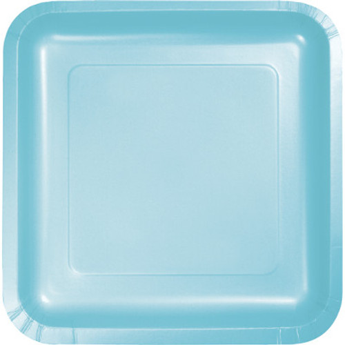 "Light Blue 7"" Square Lunch Plates"