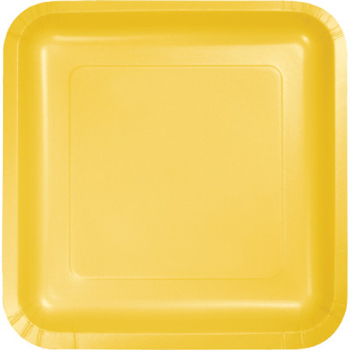 "Yellow 7"" Square Lunch Plates"