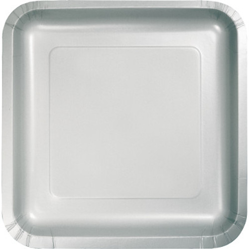"""Silver 7"""" Square Lunch Plates"""