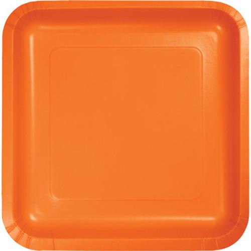 "Orange 7"" Square Lunch Plates"