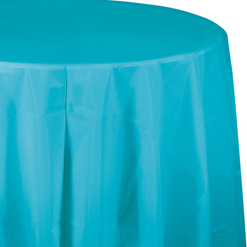 "Bermuda Blue 82"" Round Plastic Tablecover"