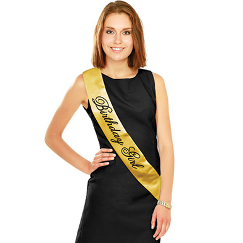 Birthday Girl Gold Satin Sash