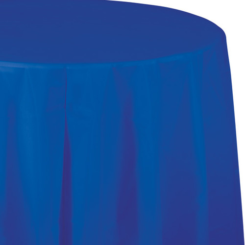 "Cobalt Blue 82"" Round Plastic Tablecover"
