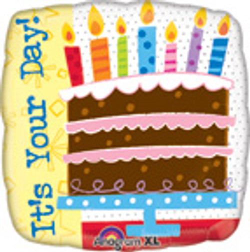 "18"" Birthday Cake It's Your Day Square Balloon"