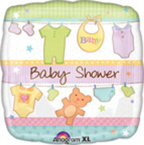 "18"" Baby Shower Cuddly Clothesline Square Balloon"