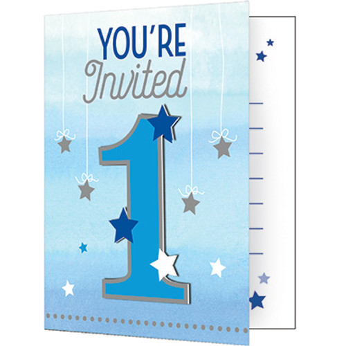 One Little Star Boy 1st Birthday Invitations