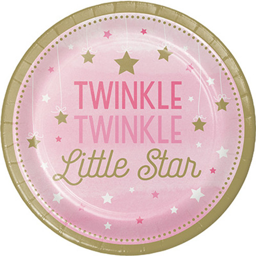 "One Little Star Girl Twinkle 7"" Lunch Plates"