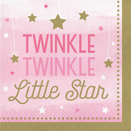 One Little Star Girl Twinkle 2-Ply Lunch Napkins