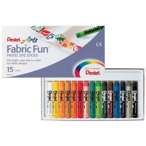 Pentel Fabric Fun Pastel Dye sticks 15 Colors/box