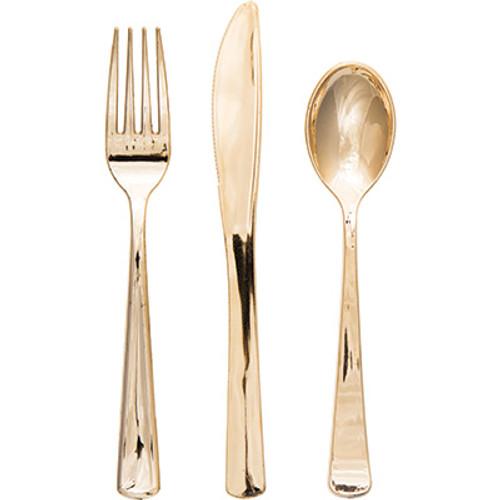 Gold Metallic Premium Plastic Cutlery Assortment