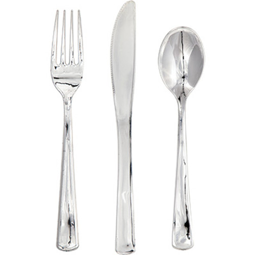 Silver Metallic Premium Plastic Cutlery Assortment