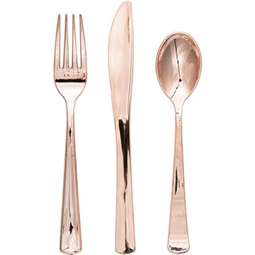 Rose Gold Metallic Premium Plastic Cutlery Assortment