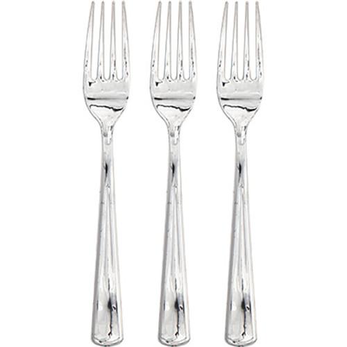 Silver Metallic Premium Plastic Forks