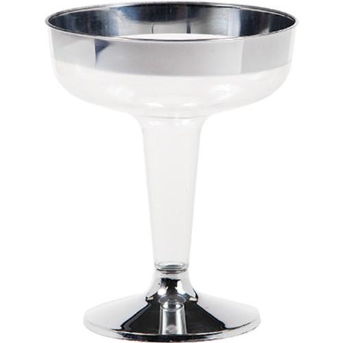 Metallic Rimmed 4.5 oz Premium Plastic Champagne Glass