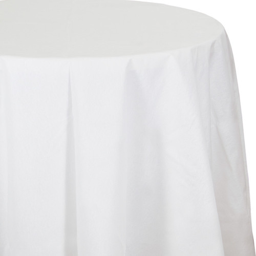 "White Premium 82"" Round Tablecover"