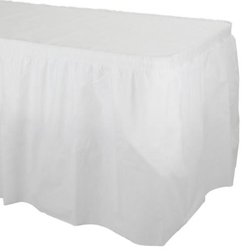 White Premium Pleated Table Skirt