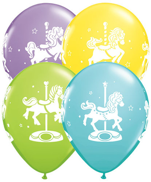 "11"" Carousel Horses Latex Balloon"