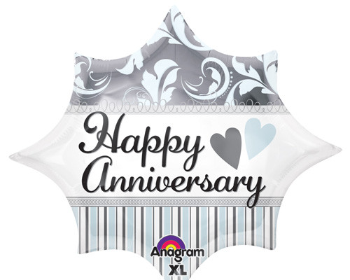 "18"" Elegant Happy Anniversary Burst Junior Shape Balloon"