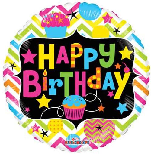 """18"""" Birthday Cupcake Neon Non-Foil Balloon"""