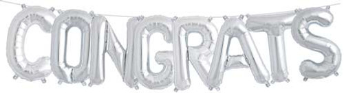 "16"" Congrats Balloon Kit Silver Color"