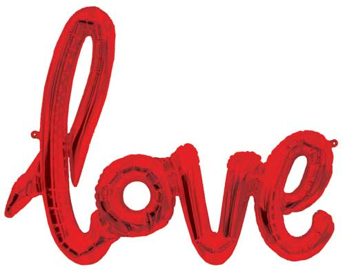 "40"" Love Red Script Shape Balloon"