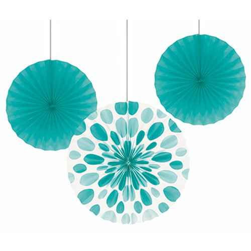 "Teal Lagoon 12"" & 16"" Solid Polka Dot Paper Fans"