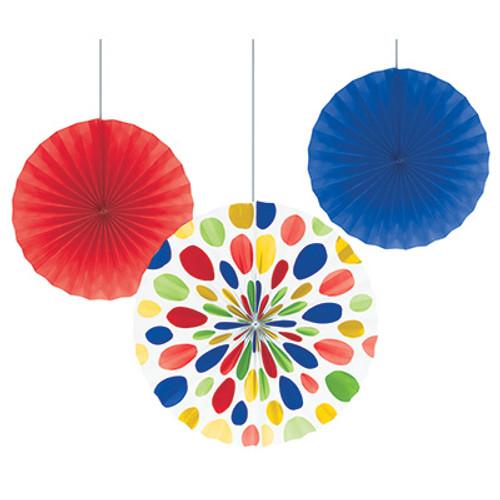 """Multicolor 12"""" & 16"""" Solid Polka Dot Paper Fans"""