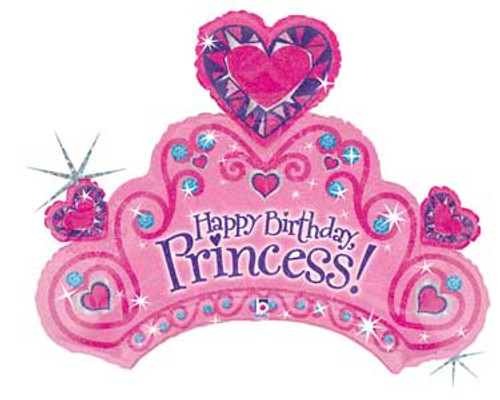 "34"" Birthday Princess Tiara Super Shape Balloon"