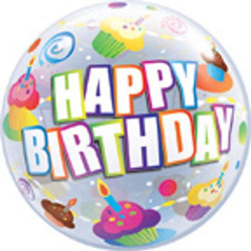 "22"" Happy Birthday Color Cupcakes Bubble Balloon"