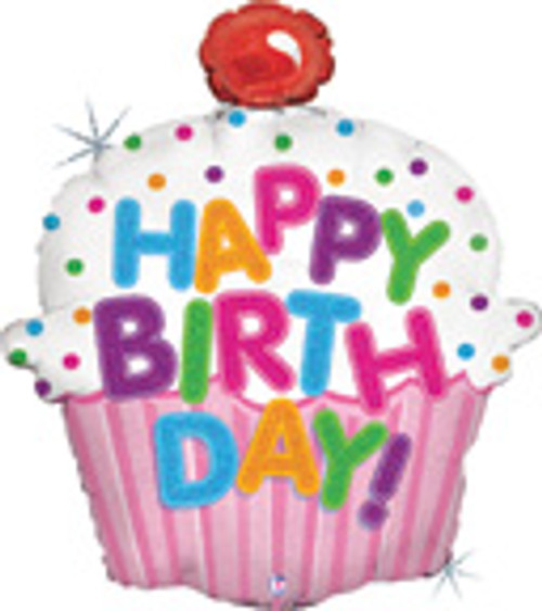 "31"" Happy Birthday Cupcake Holographic Super Shape Balloon"