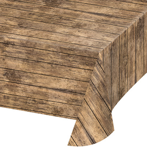 Brown Woodgrain Plastic Tablecover