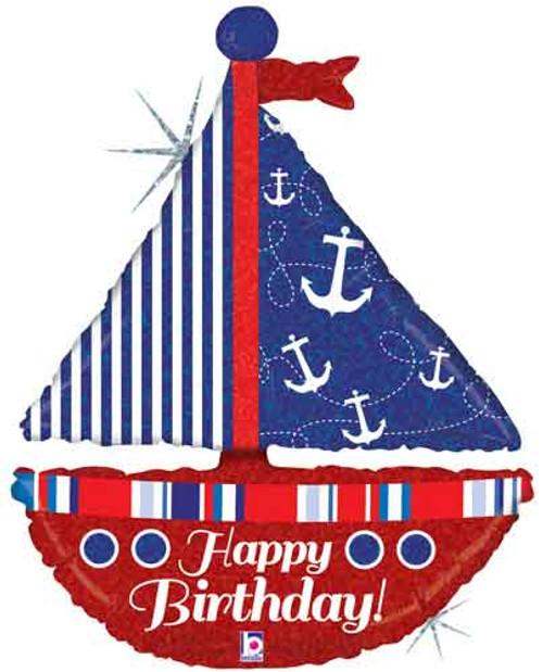 "37"" Birthday Sailboat Super Shape Balloon"