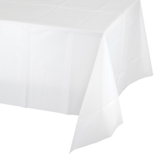 """White Plastic 54""""x 108"""" Tablecover"""