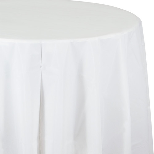 """White 82"""" Round Plastic Tablecover"""