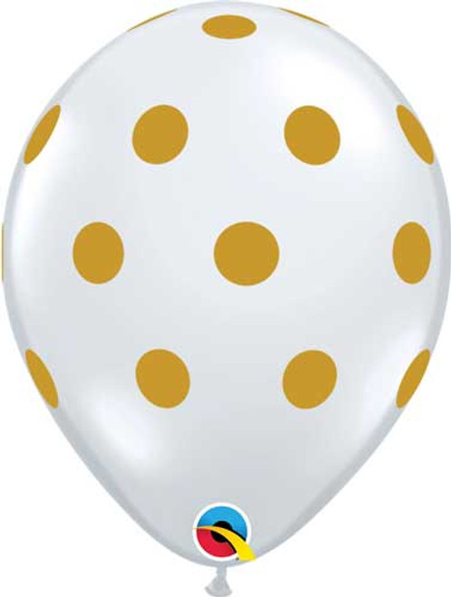 "11"" Diamond Clear Gold Dots Latex Balloon"