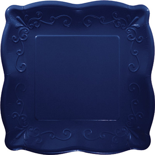 "Navy Blue 10"" Pottery Scalloped Embossed Square Paper Plates"
