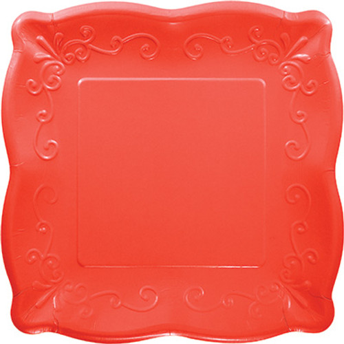 "Coral Red 10"" Pottery Scalloped Embossed Square Paper Plates"